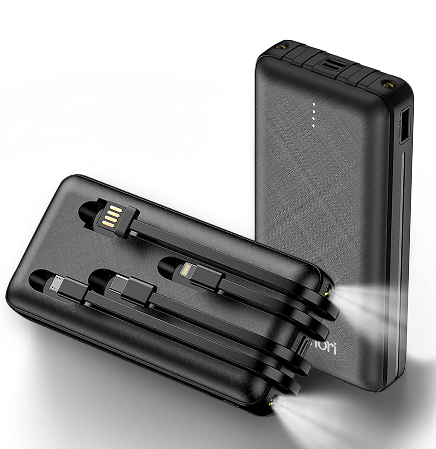20000mAh Portable Cell Phone Charger Four Built in Cables and Flashlight Power Bank External Battery Pack Compatible with iPhone Pro iPad Samsung Nintendo Switch Tablet