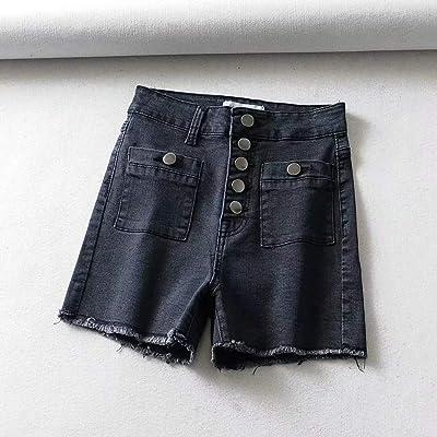 Ajuste de botón de un Solo Pecho elástico Delgado Cintura Alta Pantalones Cortos de Mezclilla Adelgazante Hembra Negro L: Ropa y accesorios