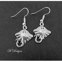 Stingray Earrings Sterling Silver Hooks