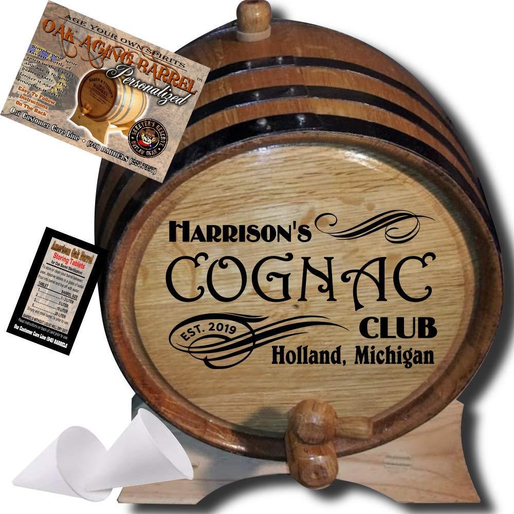 Personalized American Oak Cognac Aging Barrel (207) - Custom Engraved Barrel From Skeeter's Reserve Outlaw Gear - MADE BY American Oak Barrel - (Natural Oak, Black Hoops, 2 Liter)