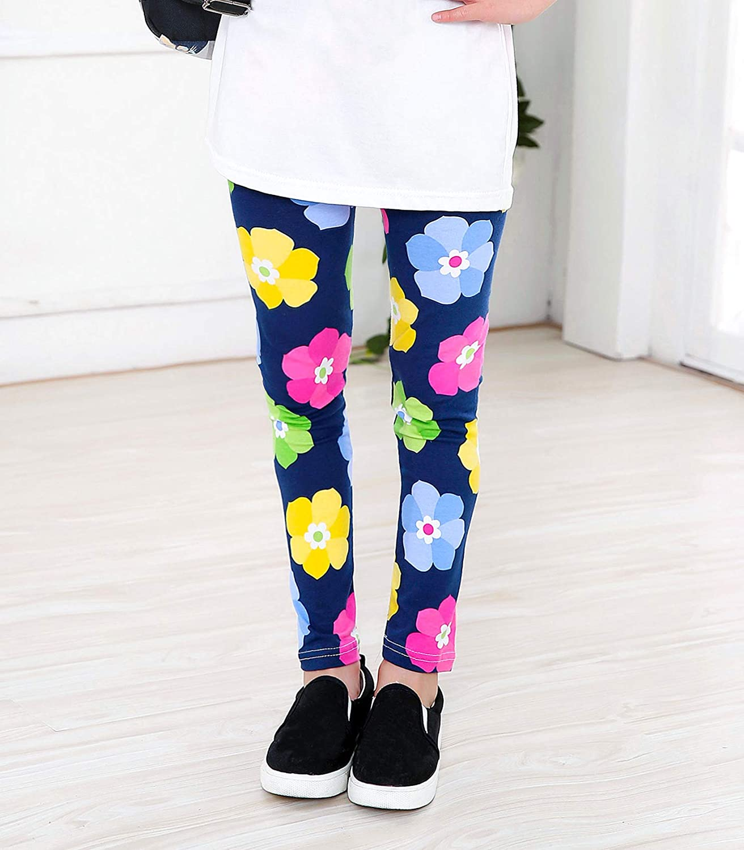 KEREDA M/ädchen Leggings Hosen Kinder Stretch Leggings Blumenmuster 3er-Pack Alter 4-13 Jahre