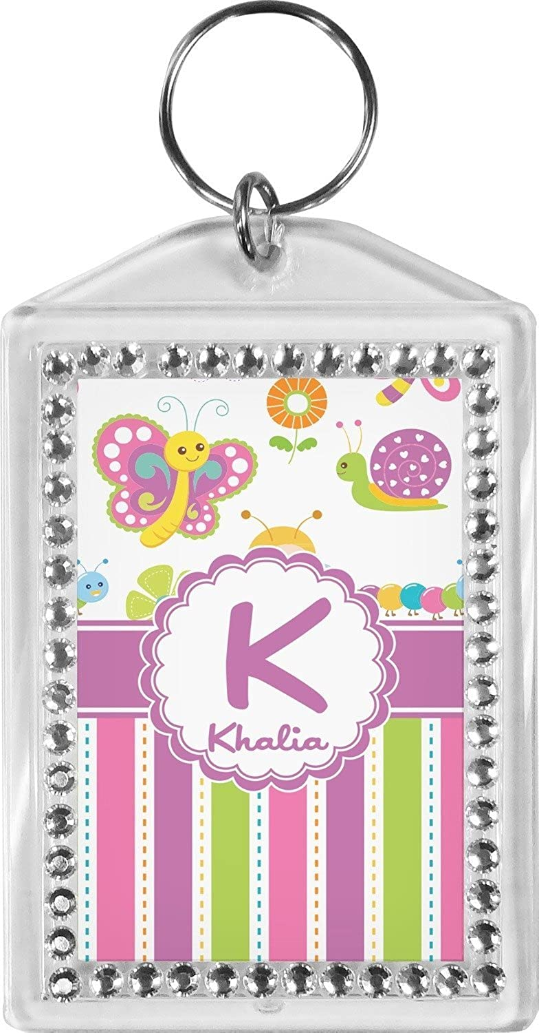 Butterflies & Stripes Bling Keychain (Personalized)