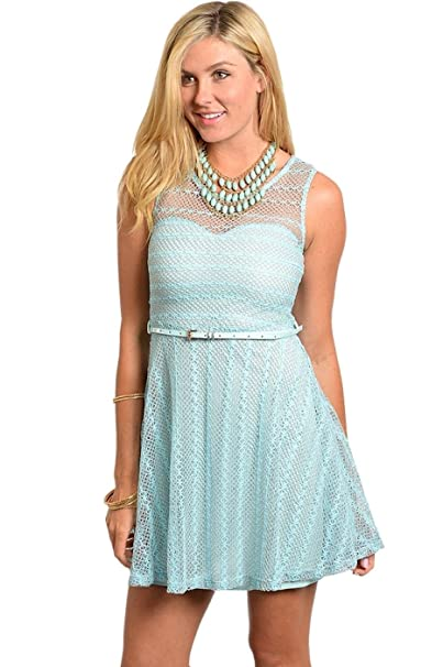 2luv Womens Cap Sleeve Lace Fit Flare Cocktail Dress
