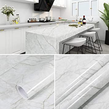 Marble Contact Paper for Countertops Waterproof, Ohuhu Self Adhesive Marble  Wallpaper, 17.7'' x 197'' Wall Paper roll for Countertops Sink Table Desk  Cover Furniture Decor, Waterproof Easily Removable - - Amazon.com