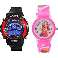 PRIMESHOP Digital 7 Light Analogue Black Dial Combo Watches for Boys and Girls