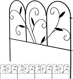 DearHouse 4Pack Decorative Garden Fence. 24 in x 27in/PCS Black Iron Landscape Wire Fencing Ornamental Panel Border Edge Section Edging Patio Flower Bed Animal Barrier for Dog Outdoor Fences