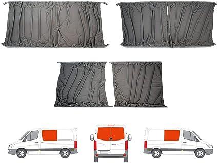 Van Demon Cortinas gris a medida LH puerta corredera RH panel lateral y doble puerta trasera Kit de cortina para VW Crafter (06-17): Amazon.es: Coche y moto