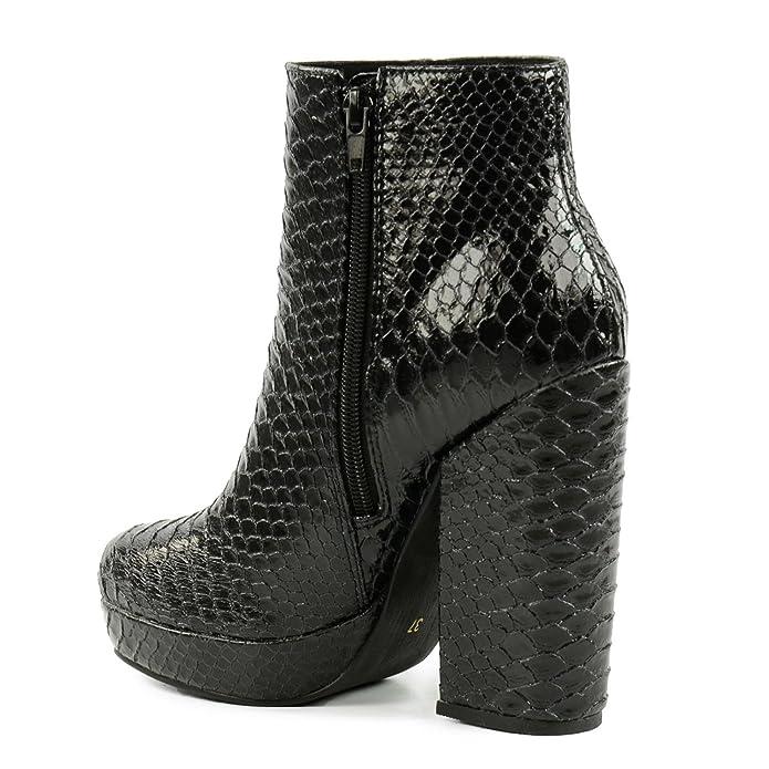SACHA Botines con estampado serpiente de los años 70, color negro: Amazon.es: Zapatos y complementos