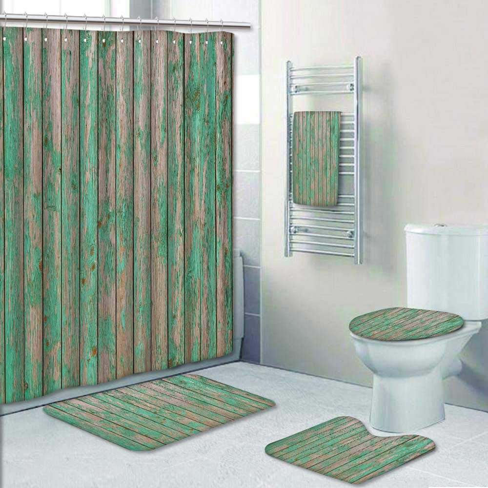 Philip-home 5 Piece Banded Shower Curtain Set Green barn Wooden Planking Texture Old Solid Wood slats Rustic Shabby Green Paint Pattern Printing Suit