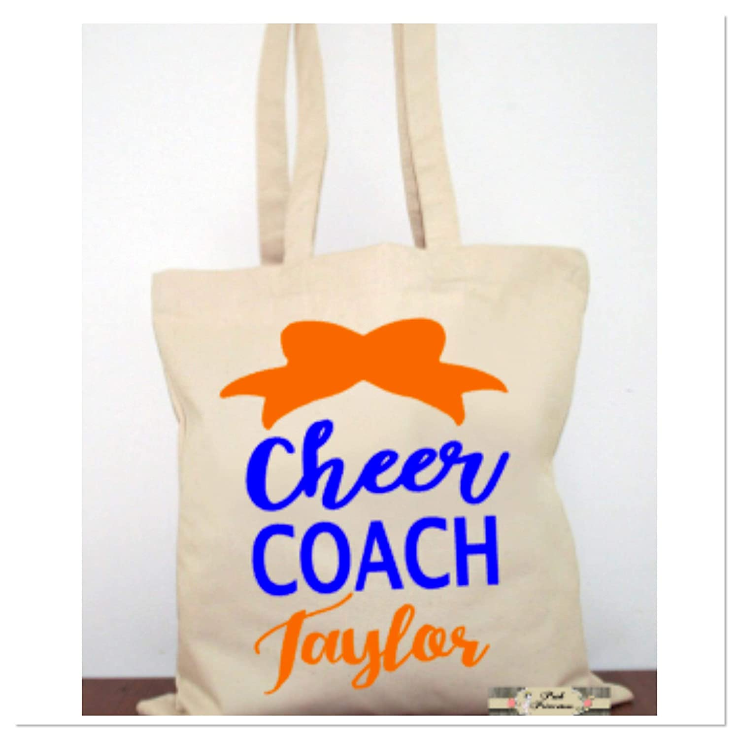 Personalized Cheer Coach Tote Bag, Cheerleader Girl Gift, Any Name, Any Color