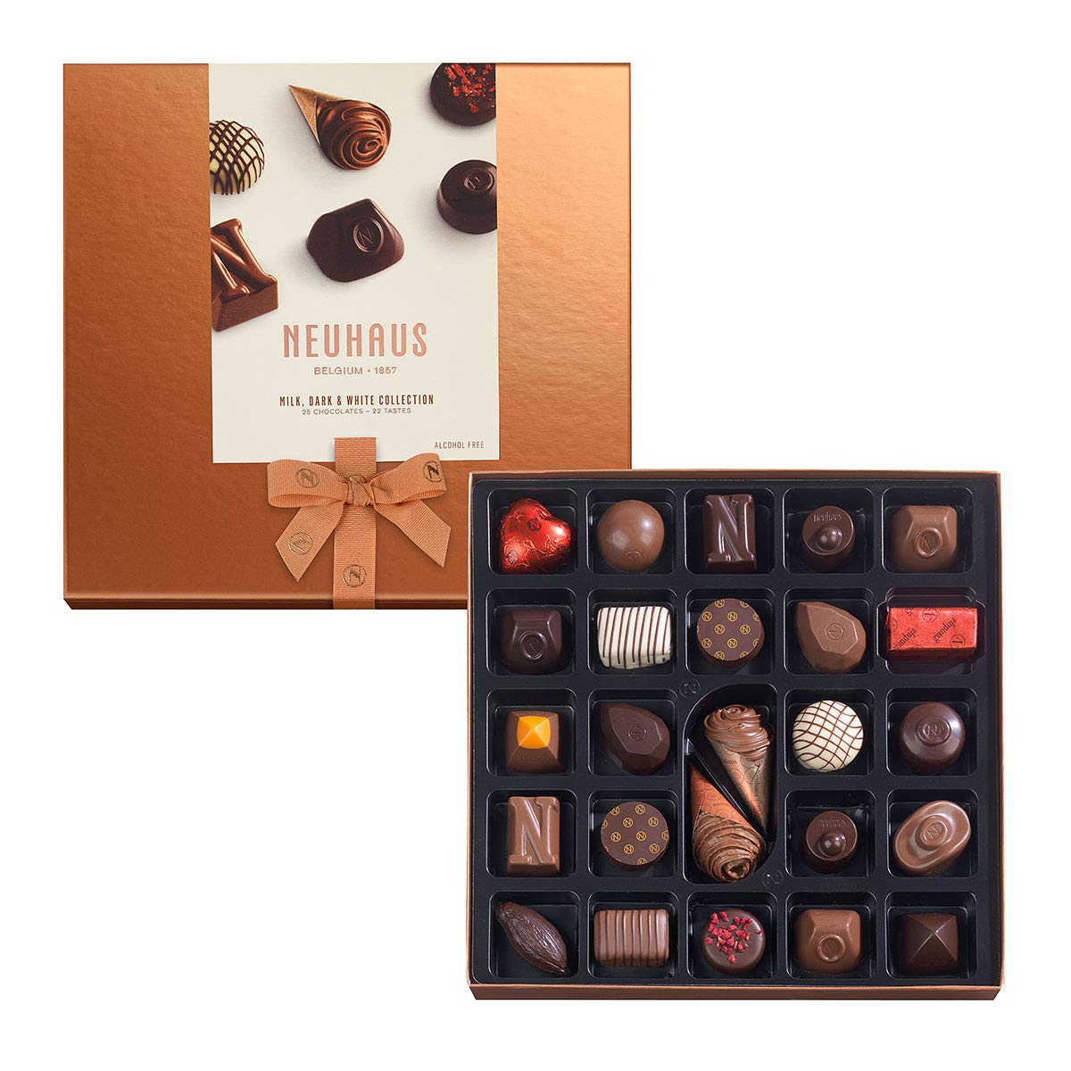Neuhaus Belgian Chocolate Classic Discovery Collection (25 pieces) - Gourmet Milk, Dark, and White Chocolate Assortment Box