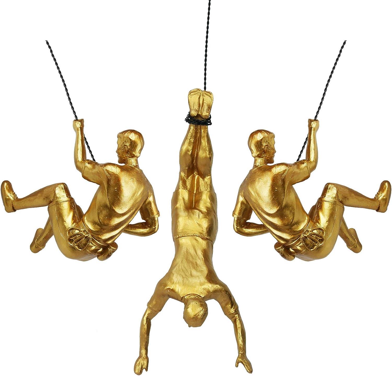 Olpchee 3Pcs Men Climbing Wall Sculpture Set Resin Wall Art Statue for Home/Living Room/Bedroom/Outdoor Decor Gold