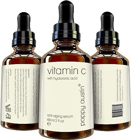 Suero de Vitamina C para Rostro - ENORME 60ml - Vegano, Cruelty-Free, Orgánico - Mejor Suero Natural Vitamina C, con Suero de Ácido Hialurónico, Vitamina E y Aceite de Jojoba