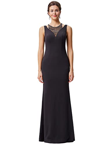 Kate Kasin Women's Evening Gowns Long Prom Dresses with Jewel V Illusion Black