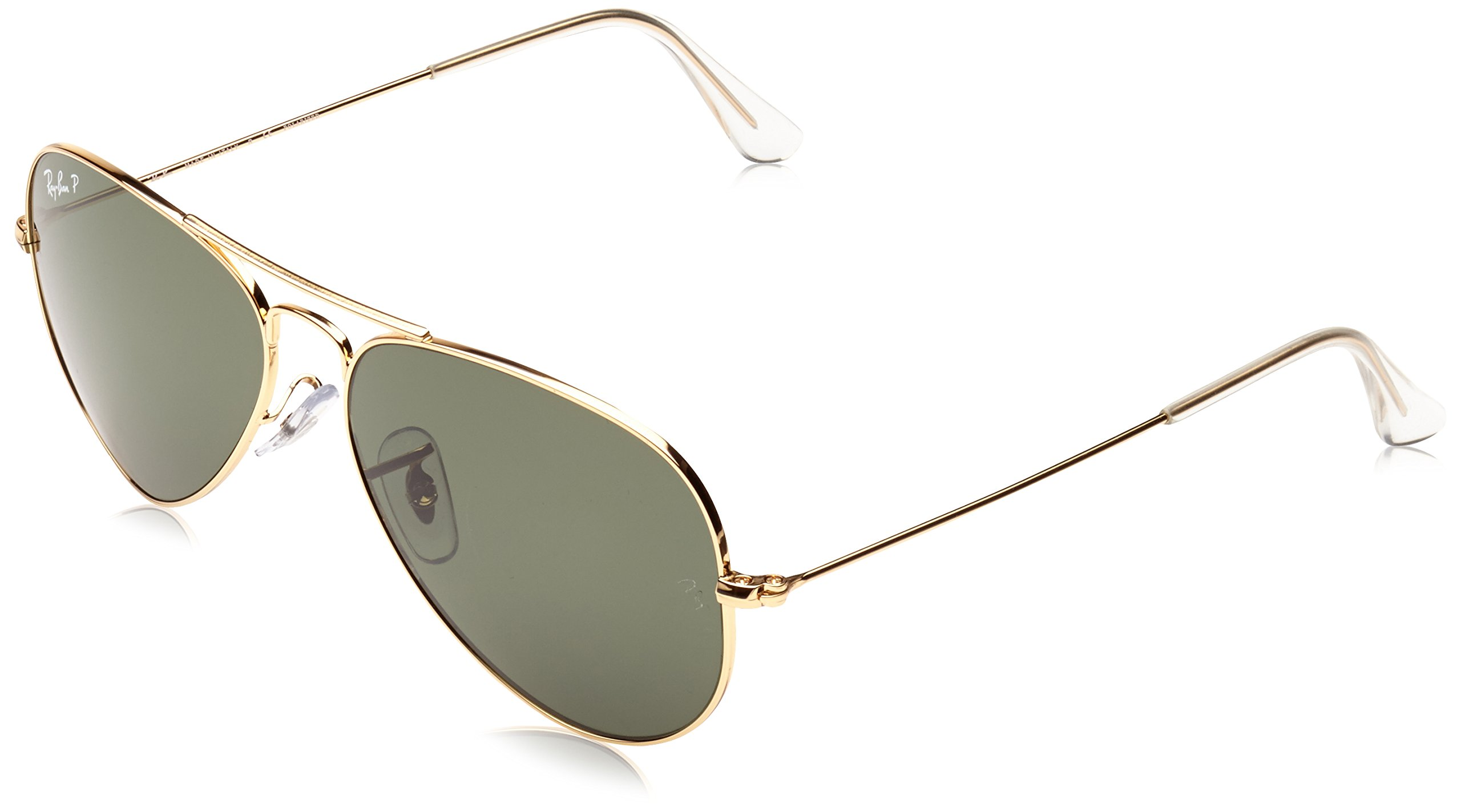 Ray-Ban 3025 Aviator Large Metal Non-Mirrored Polarized Sunglasses, Gold/Green, 55mm