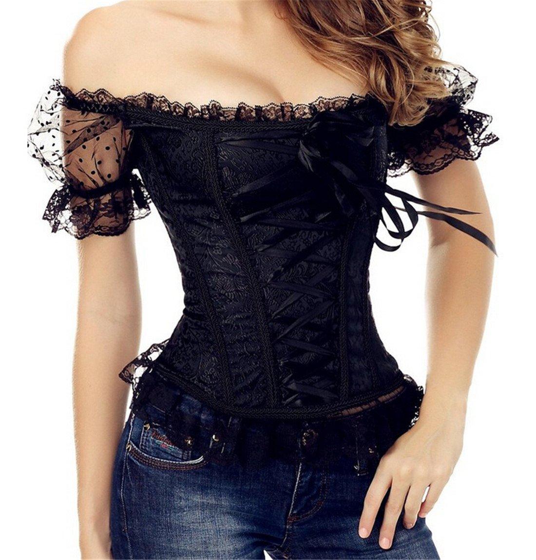 Zhitunemi Women's Princess Renaissance Corset Lace Ruched Sleeves Elegant Overbust Top 2X-Large Black