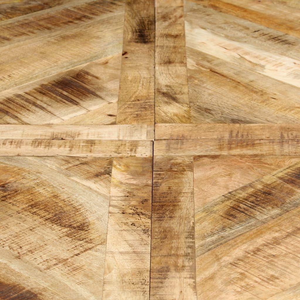 vidaXL Legno Massello di Mango Tavolo da Pranzo Rotondo Elegante Stile Industriale Robusto Arredo Cucina Laccato 120x76 cm Gambe in Acciaio