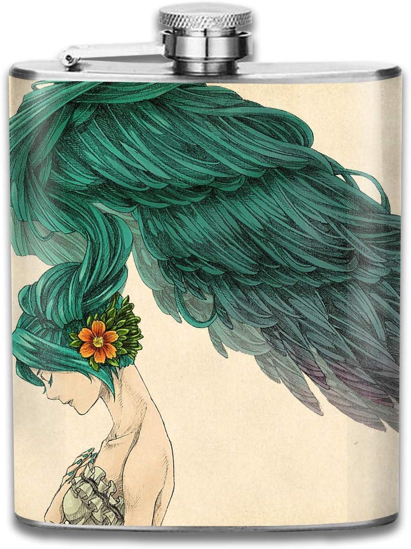 Frasco de cadera de plumas de cabello largo para licor de botella de acero inoxidable Alcohol 7 oz