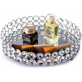 Feyarl Crystal Beads Cosmetic Round Tray Jewelry Organizer Vanity Tray Mirrored Decorative Tray for Home Perfume Skin Care (9 x 9 x 1.57 inches) (Silver)