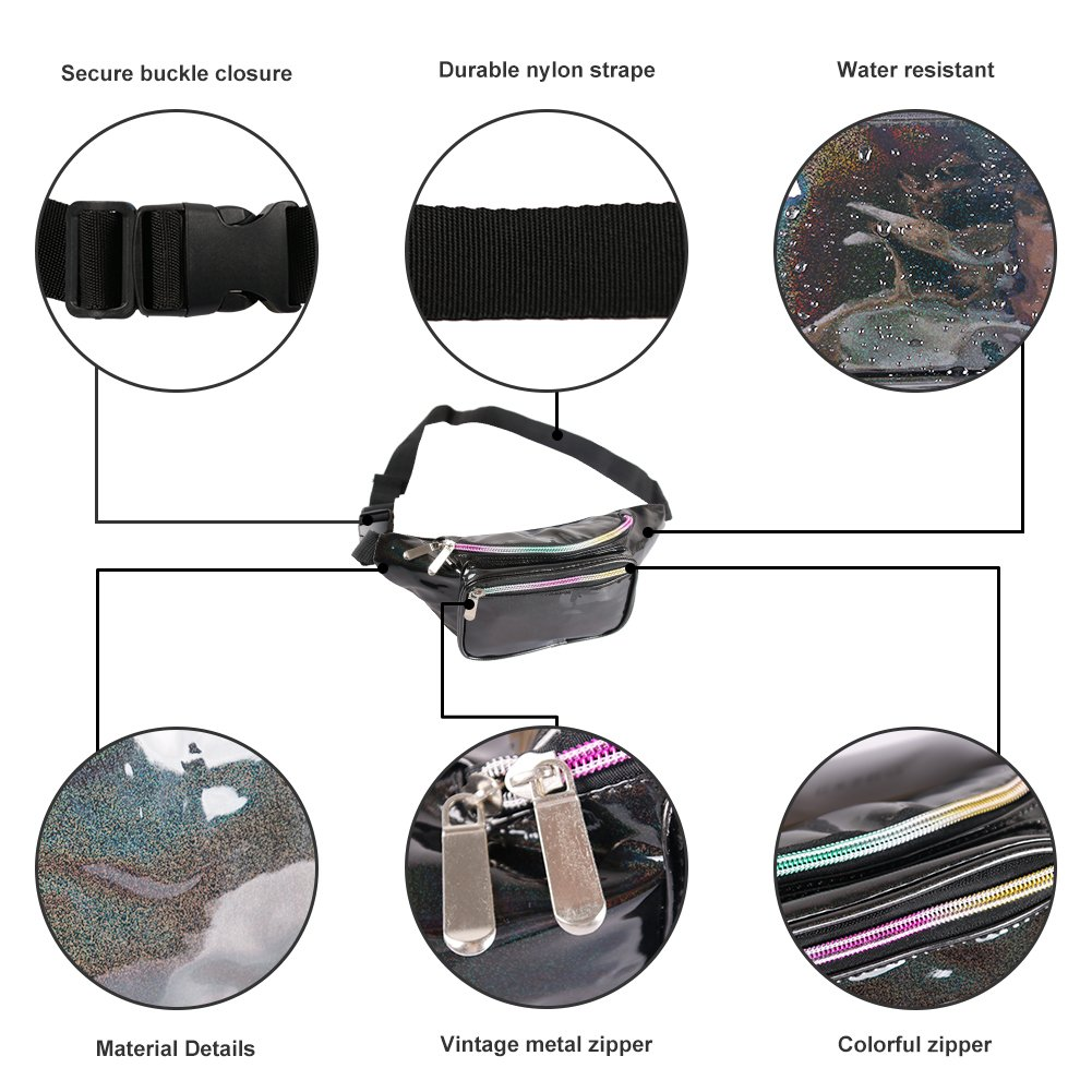 Holographic Fanny Pack for Women - Waist Fanny Pack with Adjustable Belt for Rave, Festival, Travel, Party (Blackberry) by Mum's memory (Image #4)