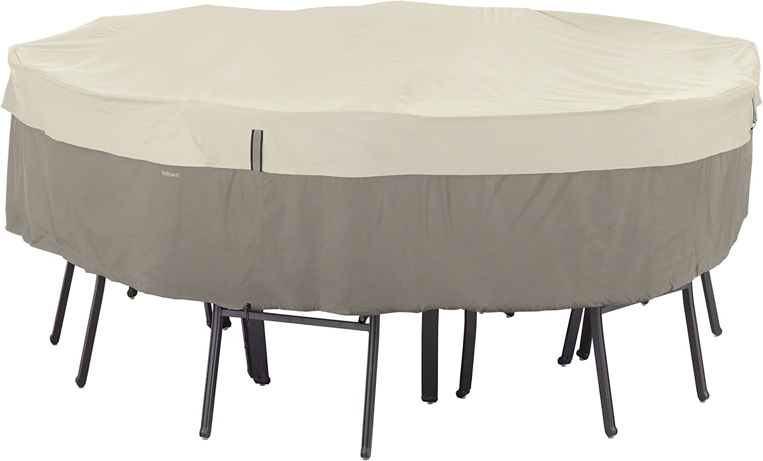 Classic Accessories 55-252-011001-00 Belltown Outdoor Round Patio Table & Patio Chair Set Cover - Weather and Water Resistant, Medium, Grey