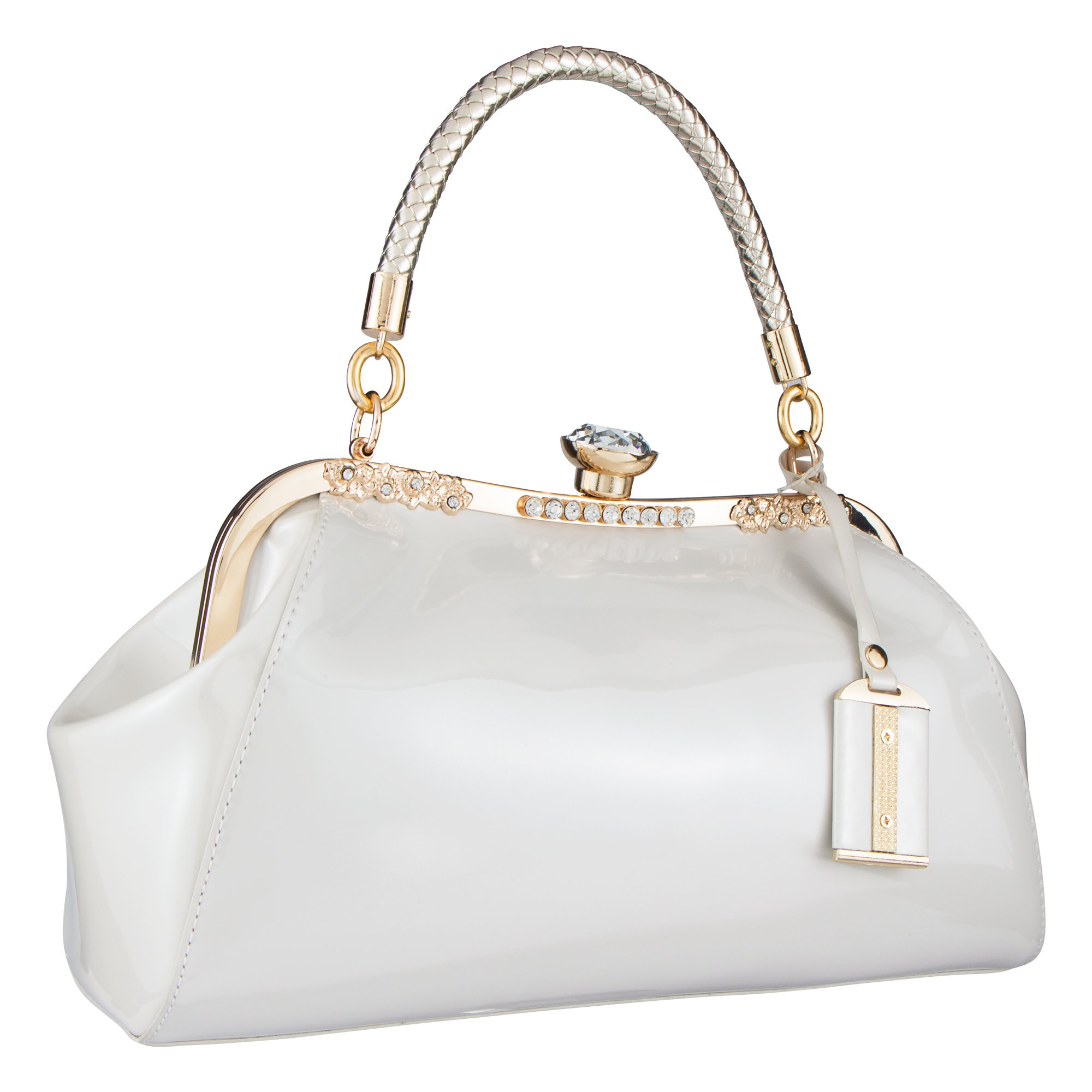 Bagood Women's Patent Leather Glossy Shell Handbag Clutches Shoulder Evening Bags for Party White