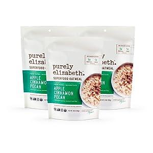 Purely elizabeth Vegan GlutenFree NonGMO Superfood Oats Apple Cinnamon Pecan , 3 Count