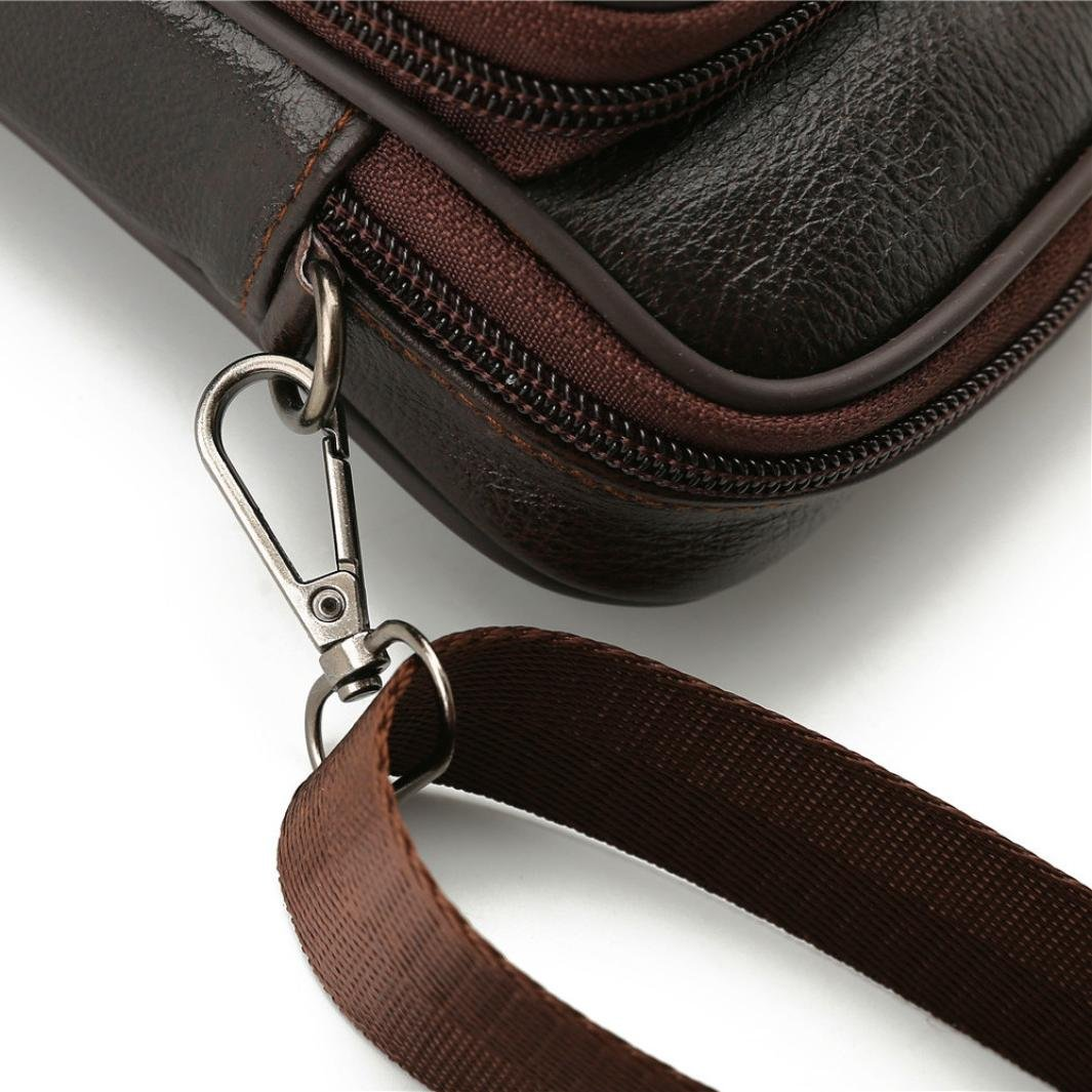 Messenger Bags, Men Vintage Small Leather Shoulder Crossbody Purse Casual Business (Brown) by Hechun (Image #6)