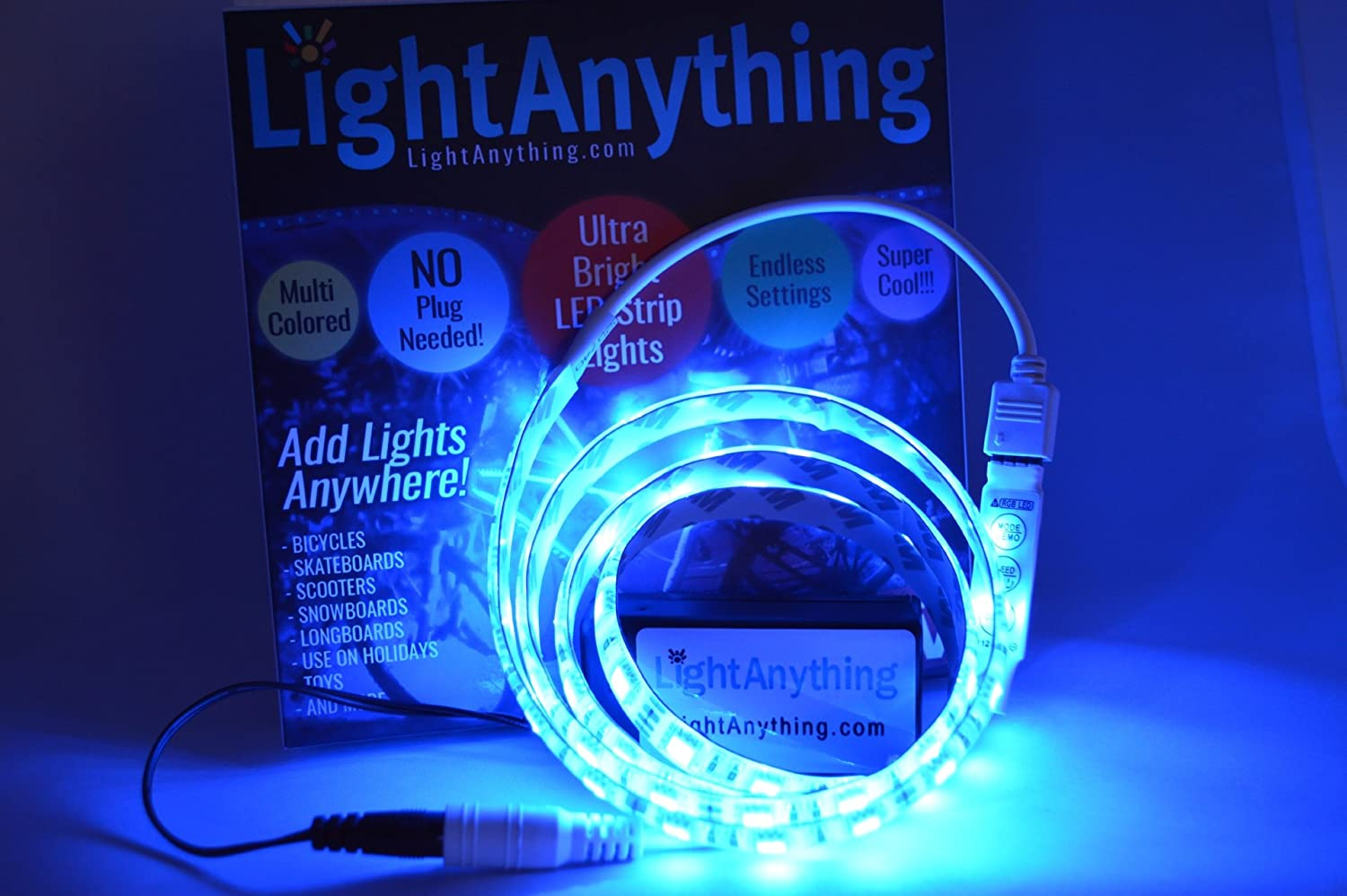 LightAnything Super Bright Portable Multi-Colored Flat LED Light Strip with Battery Box for Snowboards NO PLUG NEEDED Skis Waterproof