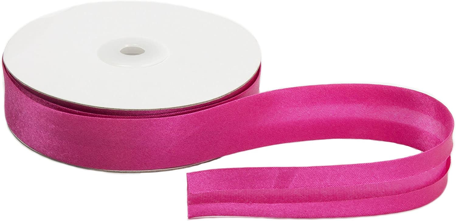 Hot Pink Satin Ribbon Bias Tape 25 mm Single Fold Sold by The Yard