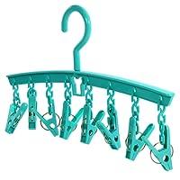 Hangerworld - Tendedero de Plástico Turquesa para Colgar con 8 Pinzas. Calcetines, Ropa Interior, etc.