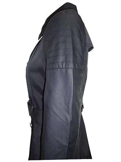 d94753501834 Nouveau Mode pour femme simili cuir noir manches double boutonnage Trench  Coat Veste - Noir -