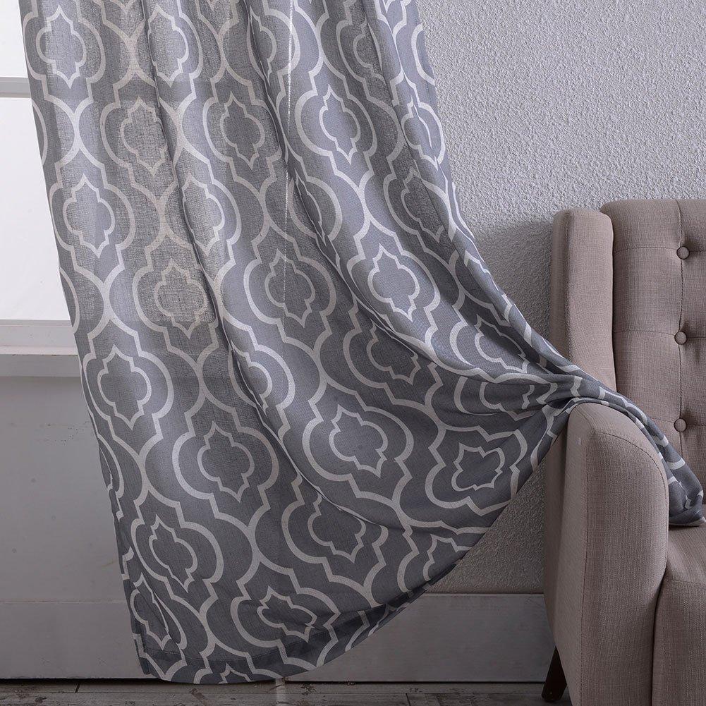 Nanan Moroccan Linen Curtains Textured Flax Lattice Print
