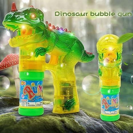 AOLVO Dinosaur Pistola de Burbujas Shooter Juguete Burbujas Blaster, iluminar Burbujas con LED Intermitente Luces y Música Dinosaurio Juguetes para Niños, ...