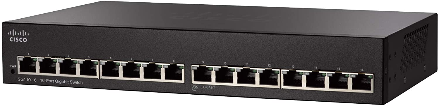 Cisco SG110-16 Desktop Switch with 16 Gigabit Ethernet (GbE) Ports, Limited Lifetime Protection (SG110-16-NA)