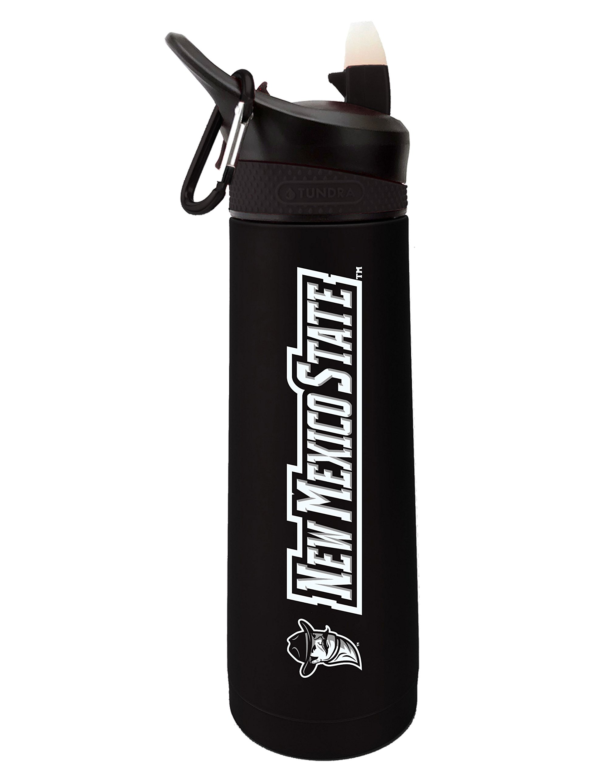 Fanatic Group New Mexico State Dual Walled Stainless Steel Sports Bottle, Design 1 - Black