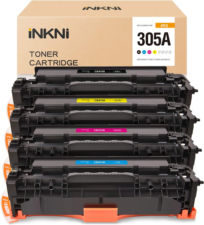 INKNI Remanufactured Toner Cartridge Replacement for HP 305A 305X CE410X CE410A CE411A CE412A CE413A for Laserjet Pro M451dn M451dw M451nw MFP M475dn M475dw M375nw (Black Cyan Magenta Yellow, 4-Pack)