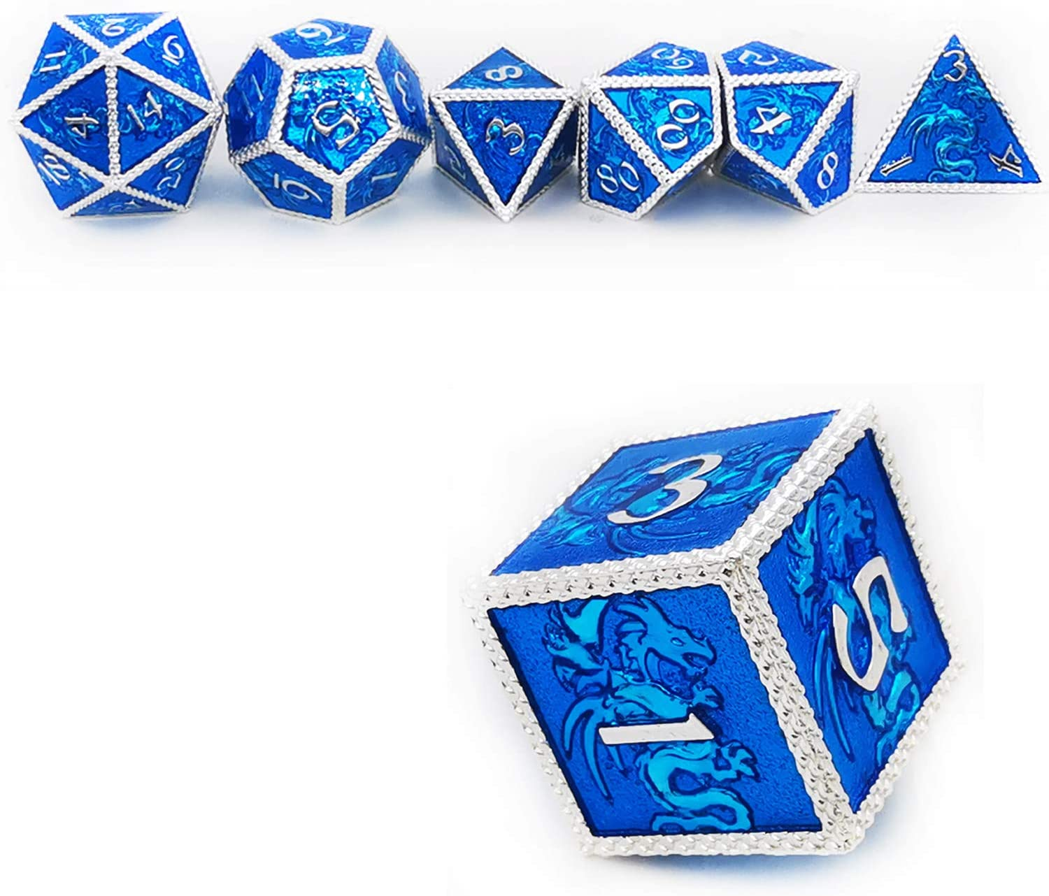 HAOMEJA DND Metal Dice Dragon Set 7 Role Playing Dice D/&D Solid Dice Dungeons and Dragons Silver Blue