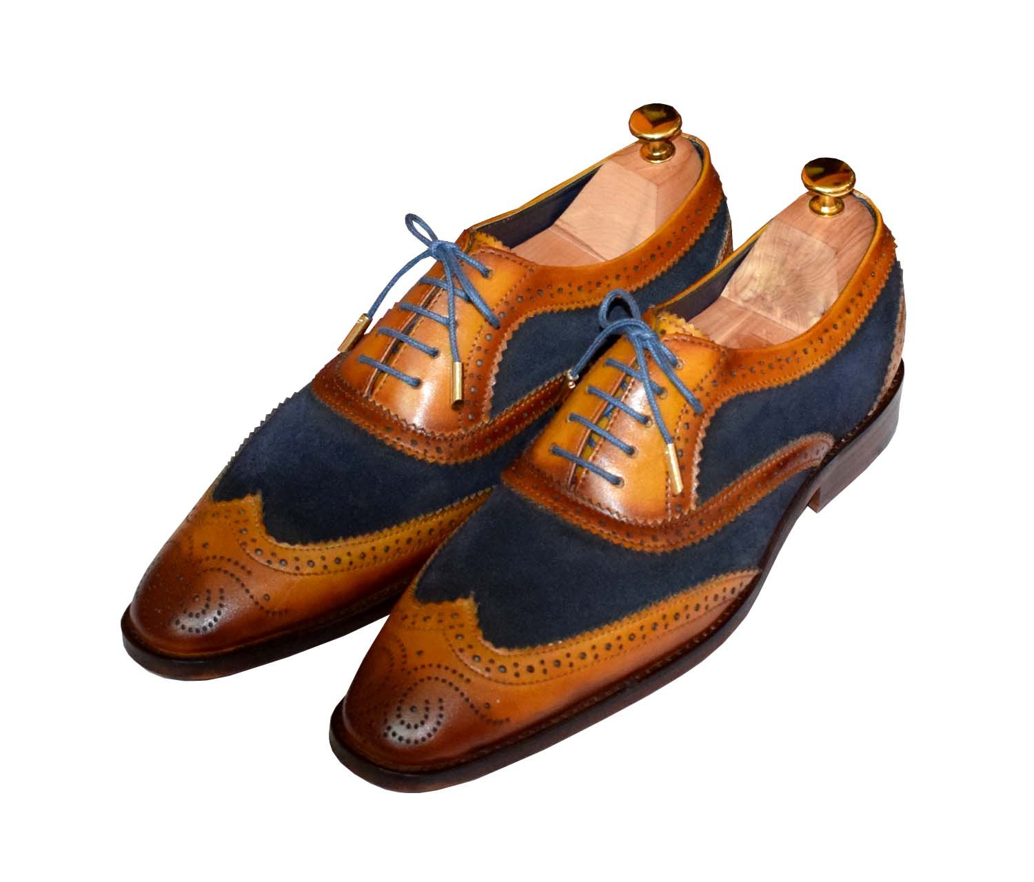 Lethato Wingtip Brogue Oxford - Navy Blue