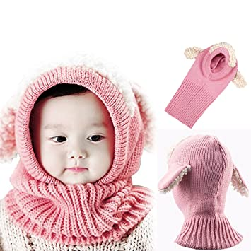 Bonice Childrens Hat Baby Girls Boys Knitted Animal Hat Hood