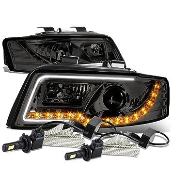 Audi A4/A4 Quattro B6 (tipo 8E par de proyector faro delantero + LED ámbar DRL (humo lente) + 6000 K Blanco LED Kit: Amazon.es: Coche y moto