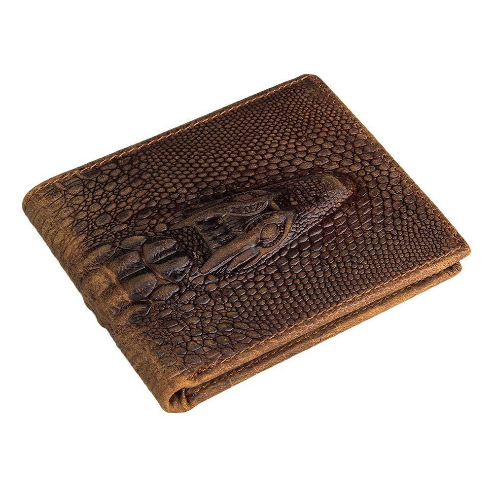 - Mens RFID Blocking Wallets, Short Wallet for Men,Slim Crocodile Pattern Purse Cowhide Leather RFID Blocking Retro Stylish 6 Card Slot Wallet Coin Purse Gift for Man