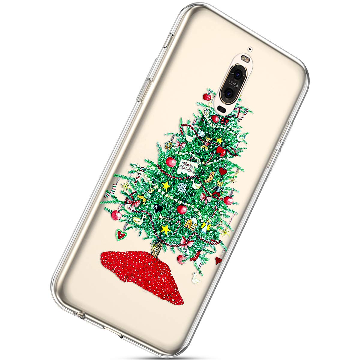 Herbests Coque Silicone pour Huawei Mate 9 Pro Housse avec Noë l Motif Ultra Mince Clear Transparent Anti Choc Bumper Coque Case pour Huawei Mate 9 Pro, Noë l #9 Noël #9 HER0028057