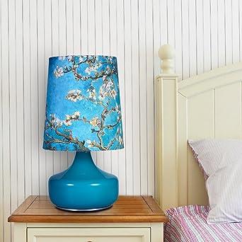Abat Jour Pression Lampe BleuPeinture Chevet De Verre Elinkume® ywm0ONv8n