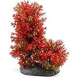 uxcell Plastic Aquarium Underwater Tree Plant Decorative Ornament w Ceramic Base