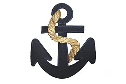 Amazon id navy blue anchor large patch nautical ship