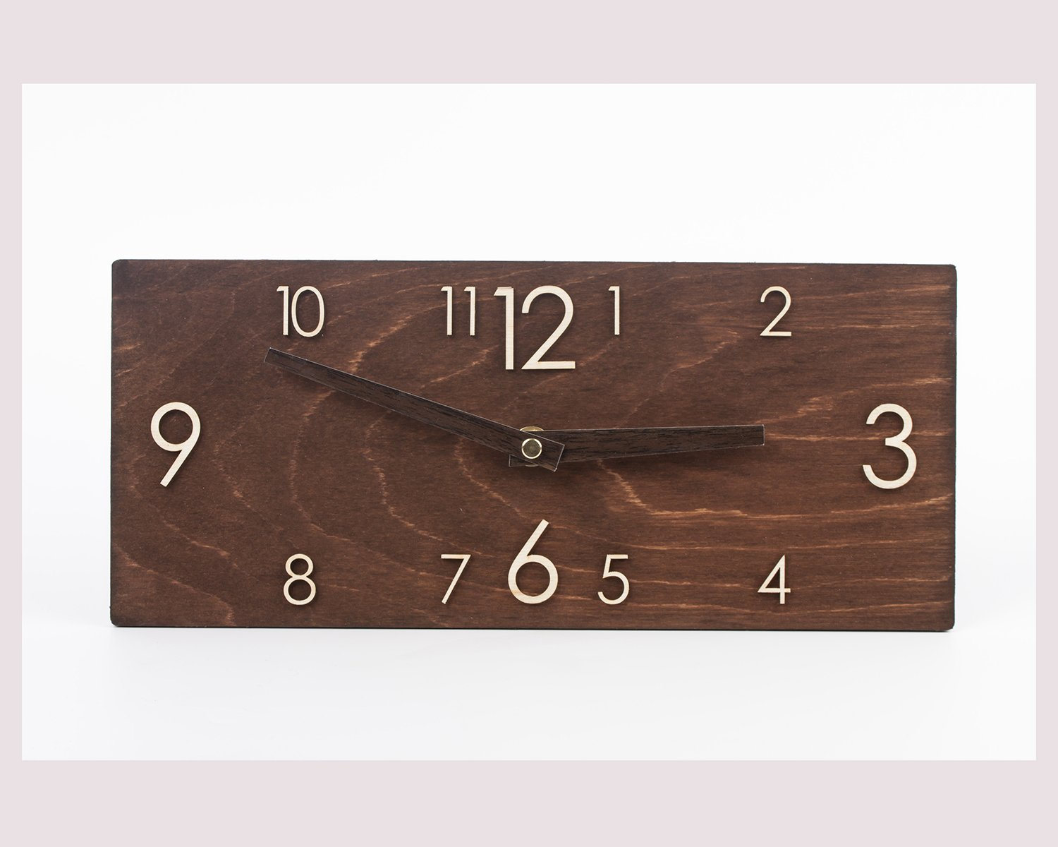 Wooden Wall Clock - Brown Wall Clock - Dark Brown Clock - Rectangular Wall Clock - Modern Wall Clock - Scandinavian Clock - Wall Decor