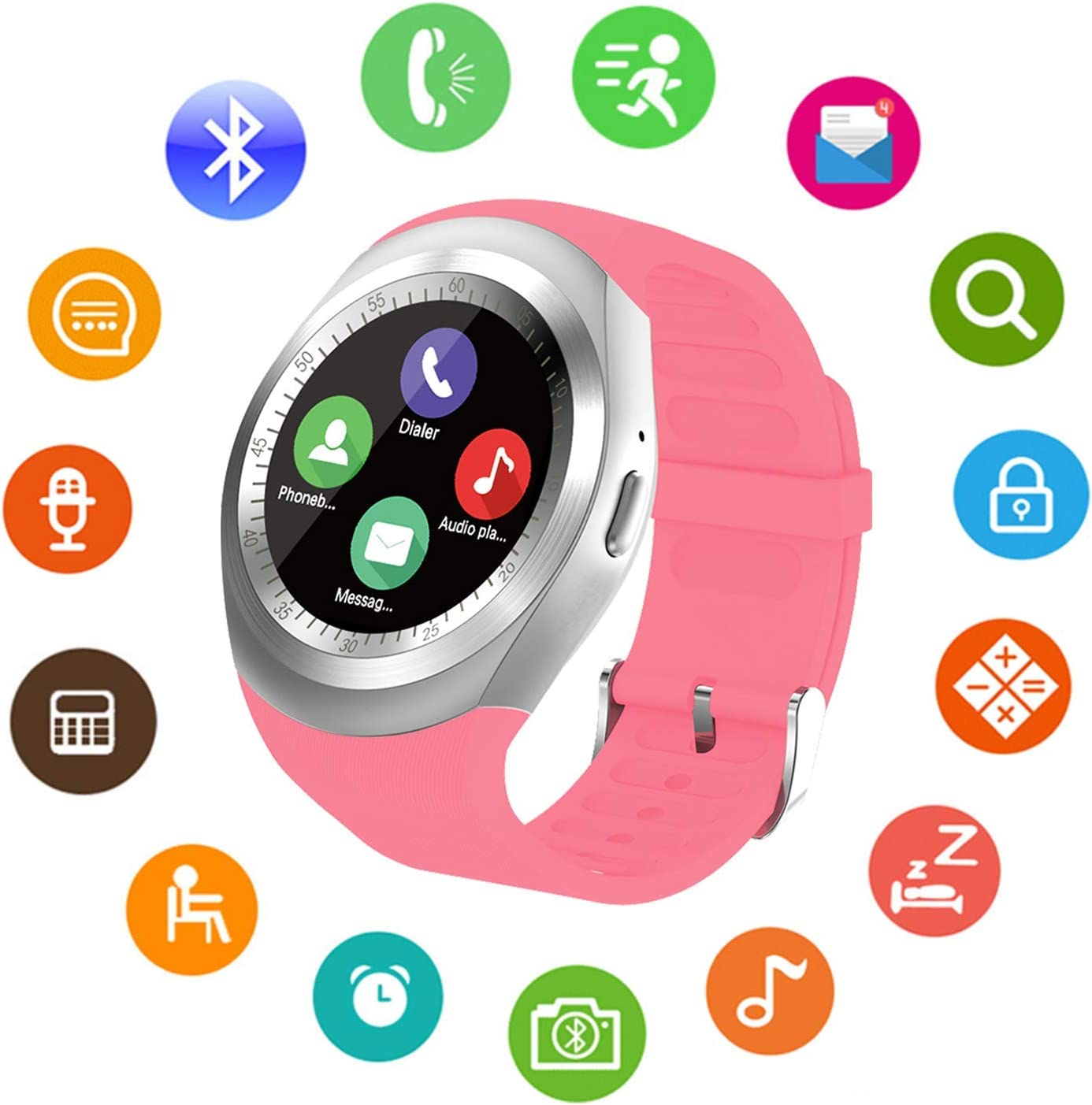 Bluetooth Smart Watch Unlocked Cell Phone Watch with SIM Card Slot Smartwatch for Samsung LG HTC Sony Google Huawei Xiaomi Android Smart Phones (Pink)