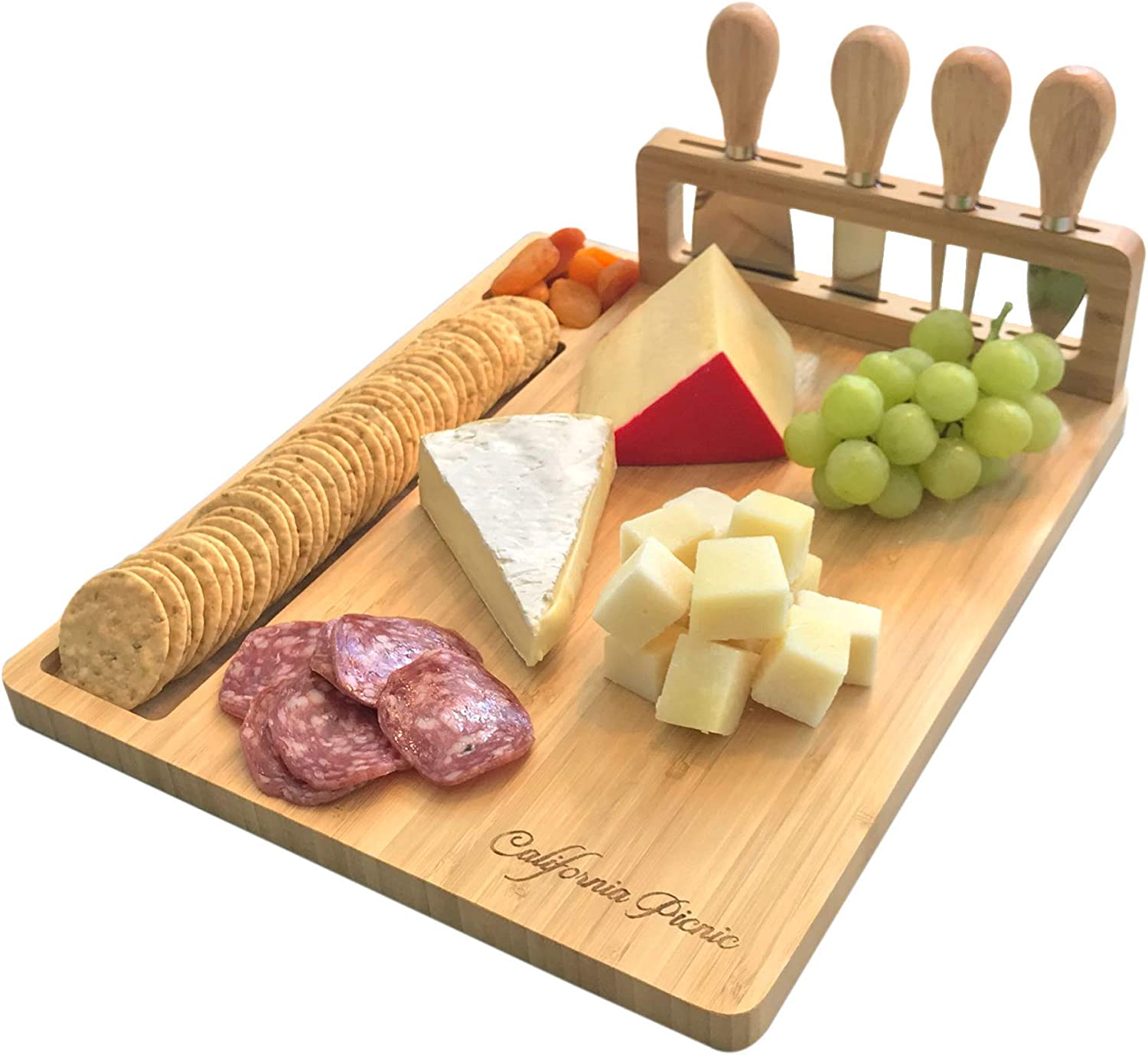 Cheese Board and Knife Set | Wine Board | Organic Bamboo Wood Charcuterie Platter Serving Board Cheese Tray with Cutlery | Perfect for Birthday, Housewarming & Wedding Gifts | 20 Pack Flag Markers