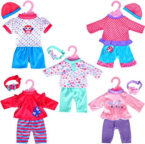 5-Pack Playtime Doll Outfits (Includes Hair Bands and Hats)